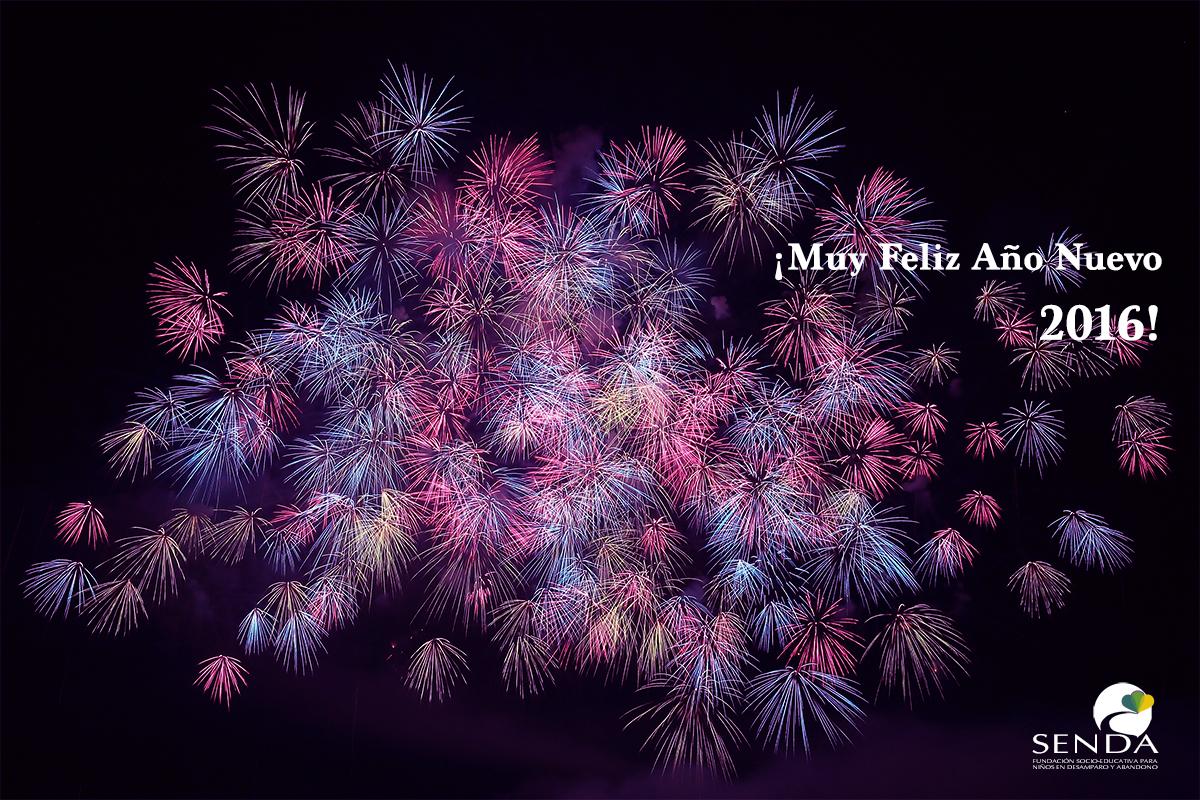 tarjeta feliz ano 2016 fuegos artificiales