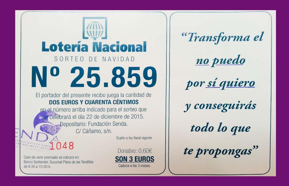 Loteria - Sorteo de Navidad Fundación Senda 2015