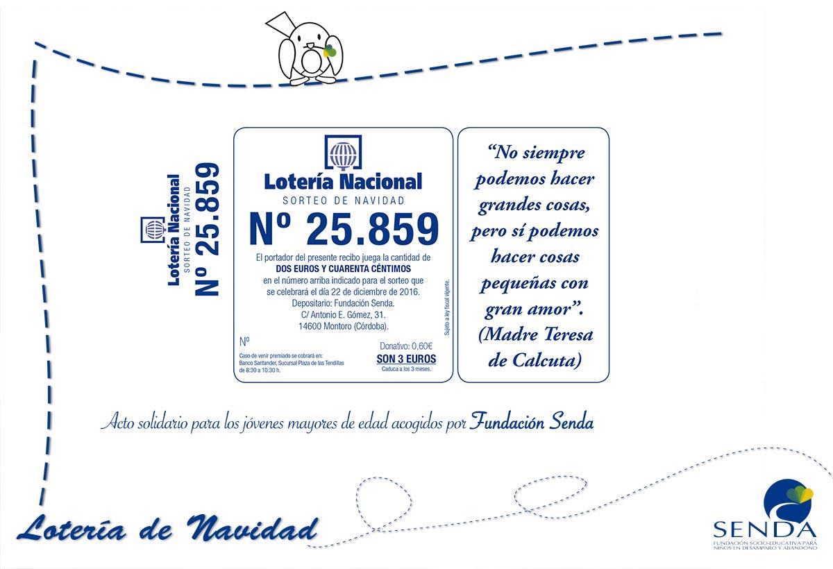 Lotería de Navidad Fundacion Senda Córdoba Andalucia