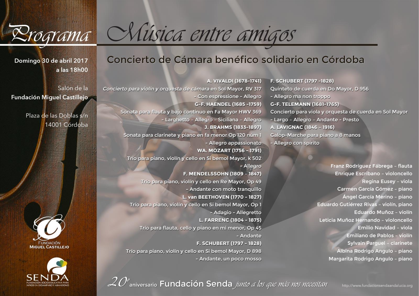 Programa Música entre amigos Concierto de cámara Miguel Castillejo Fundacion Senda