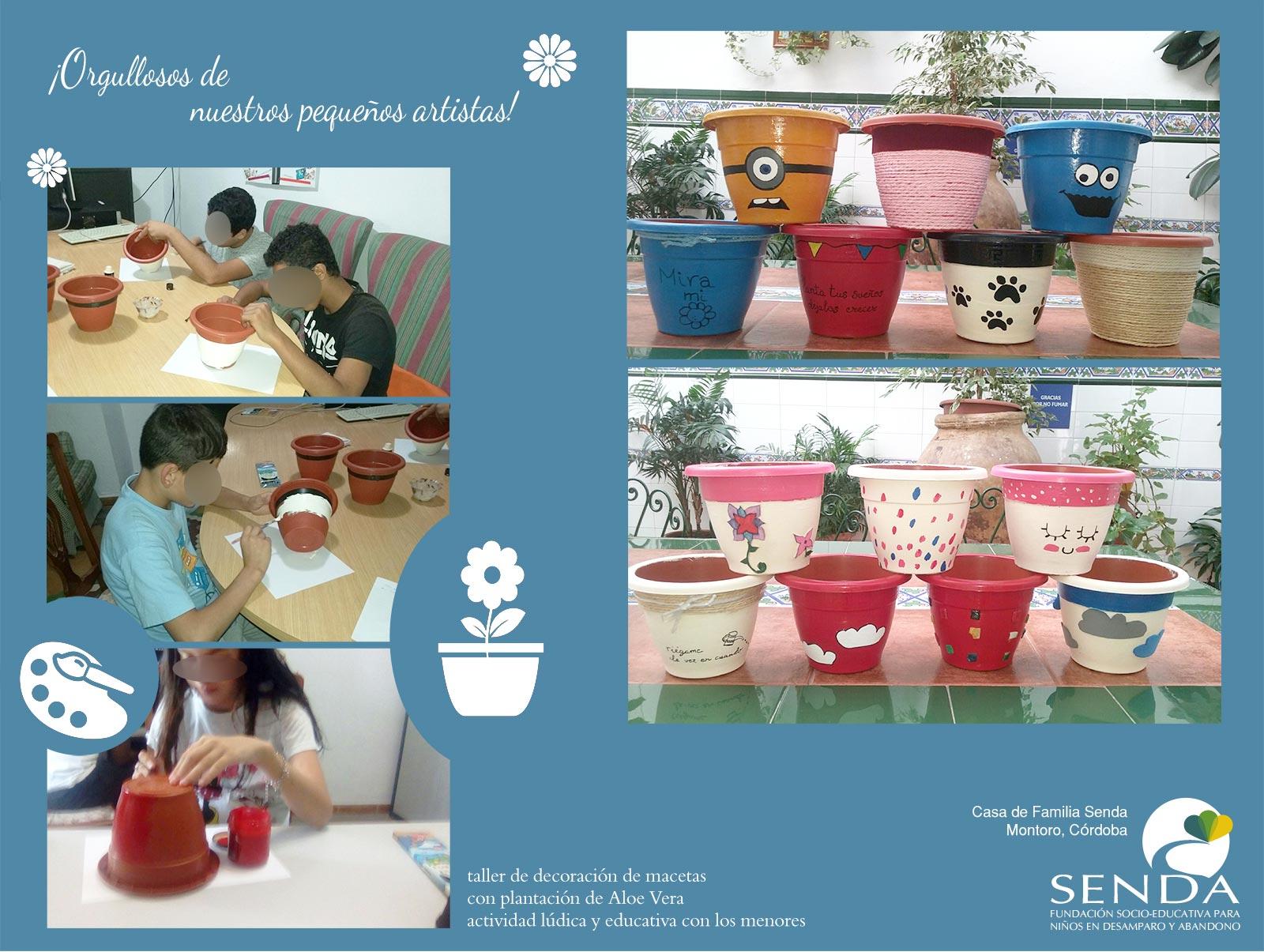 Taller decoración macetas aloe vera Casa de Familia Fundación Senda