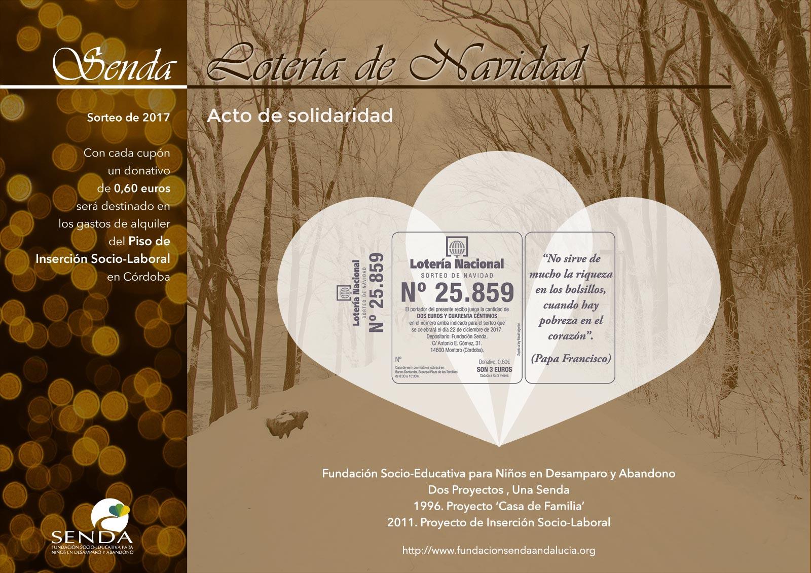 Lotería de Navidad 2017 Fundación Senda Solidaridad
