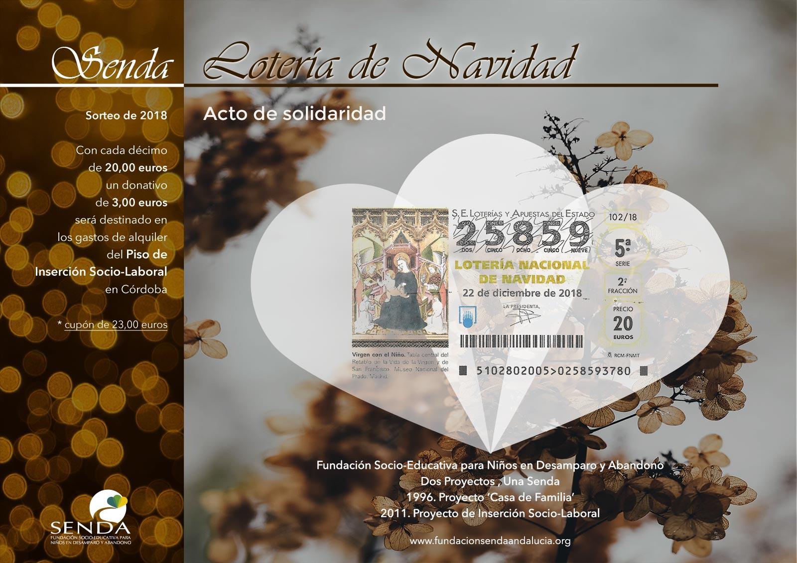 décimo 25859 lotería de navidad 2018 Fundación Senda