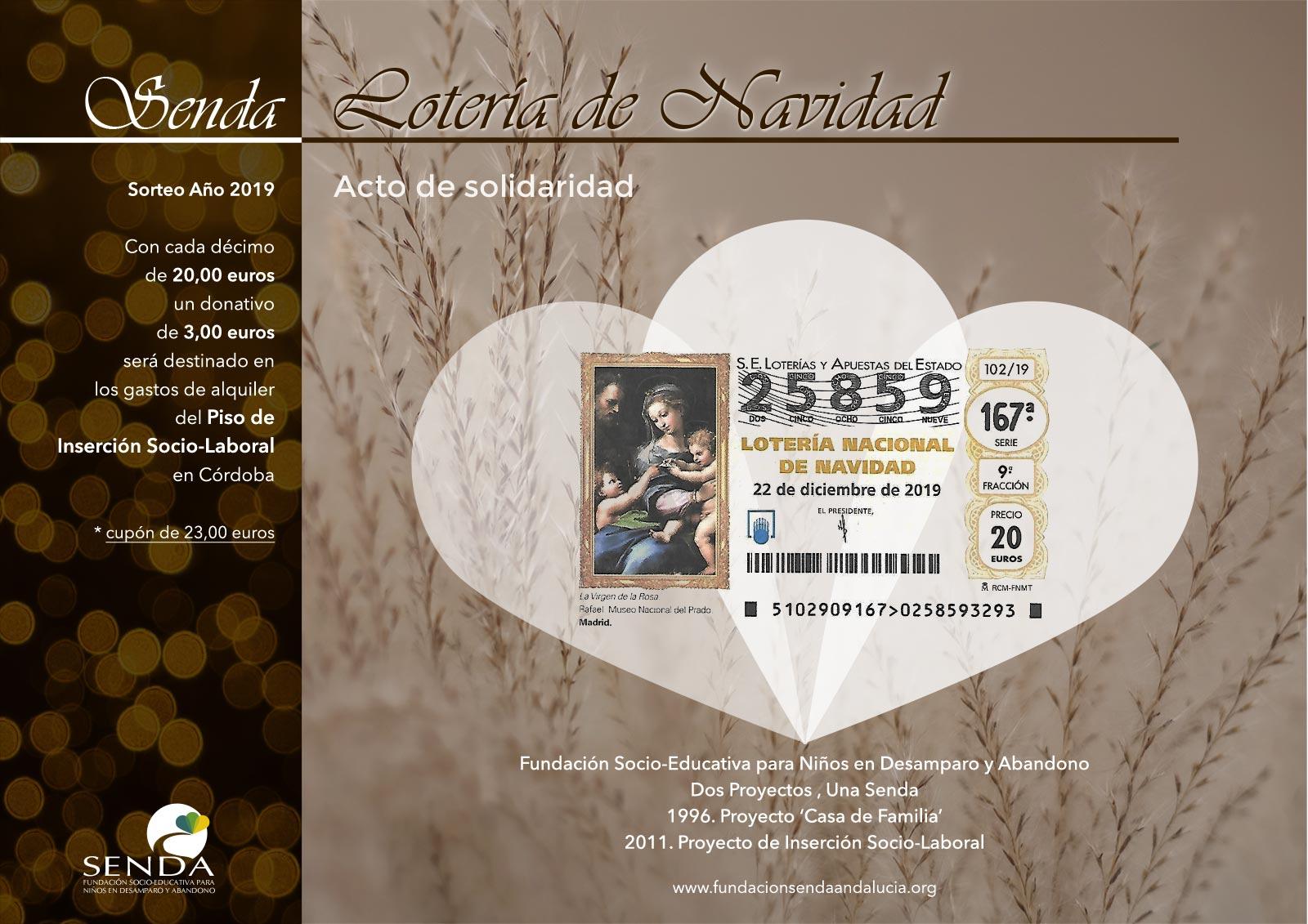 decimo 25859 loteria navidad 2019 fundación Senda córdoba